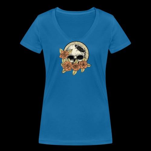 Rose et tête de mort - T-shirt bio col V Stanley & Stella Femme