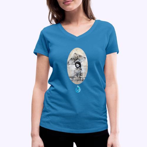 rain. Young woman - T-shirt ecologica da donna con scollo a V di Stanley & Stella