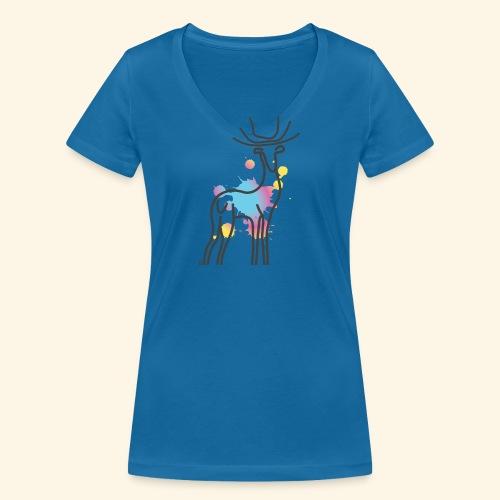cerf paint - T-shirt bio col V Stanley & Stella Femme