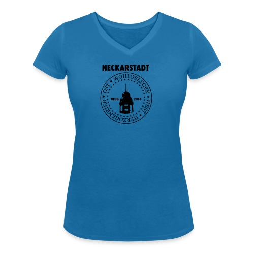 Neckarstadt Blog seit 2014 (Logo dunkel) - Frauen Bio-T-Shirt mit V-Ausschnitt von Stanley & Stella