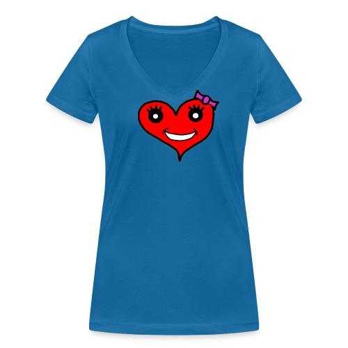Herz Smiley Schlaufe - Frauen Bio-T-Shirt mit V-Ausschnitt von Stanley & Stella