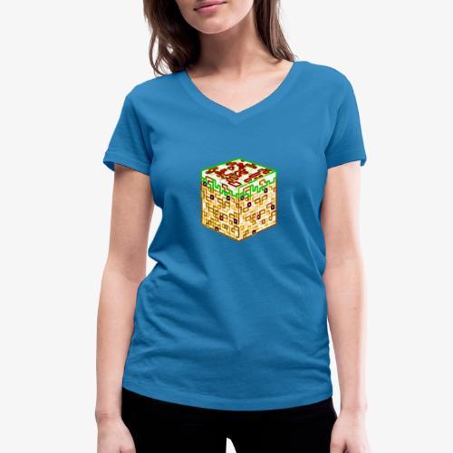 Neon Block - Women's Organic V-Neck T-Shirt by Stanley & Stella