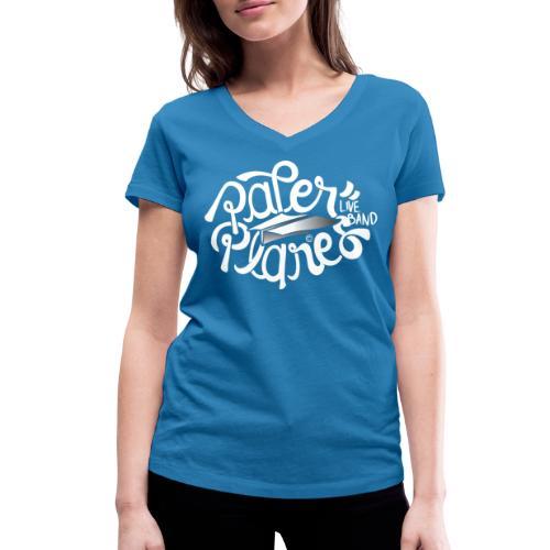 Paper Planes Logo Wit - Vrouwen bio T-shirt met V-hals van Stanley & Stella