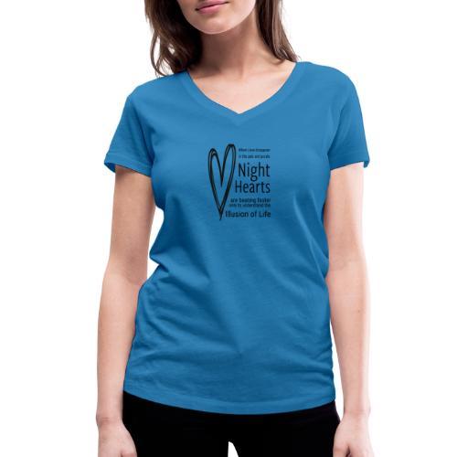 Night Hearts - Økologisk Stanley & Stella T-shirt med V-udskæring til damer