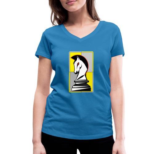 cavallo Scacchi Vers 2 - T-shirt ecologica da donna con scollo a V di Stanley & Stella