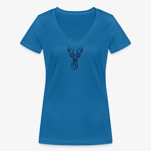 Ciervo geometrico - Camiseta ecológica mujer con cuello de pico de Stanley & Stella