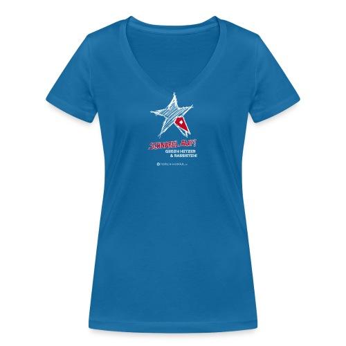 Schnabel auf gegen Hetzer und Rassisten - Frauen Bio-T-Shirt mit V-Ausschnitt von Stanley & Stella