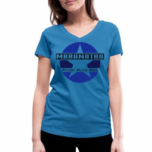 maranatha blau-braun - Frauen Bio-T-Shirt mit V-Ausschnitt von Stanley & Stella