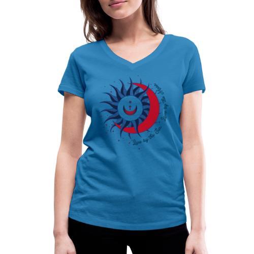 Sonne Mond Design Live by the sun Love by the moon - Frauen Bio-T-Shirt mit V-Ausschnitt von Stanley & Stella