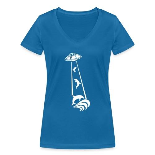 OVNI Dauphins Abduction - T-shirt bio col V Stanley & Stella Femme