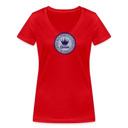 Apresski Queen Grunged Badge Shirt - Frauen Bio-T-Shirt mit V-Ausschnitt von Stanley & Stella