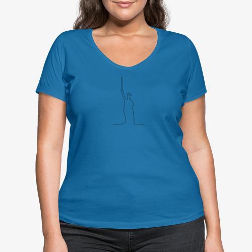 Kontur des Hermannsdenkmals - Frauen Bio-T-Shirt mit V-Ausschnitt von Stanley & Stella