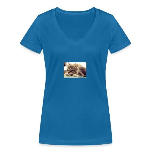gato tierno - Camiseta ecológica mujer con cuello de pico de Stanley & Stella