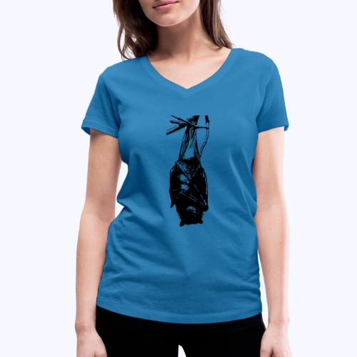 HangingBat schwarz - Frauen Bio-T-Shirt mit V-Ausschnitt von Stanley & Stella