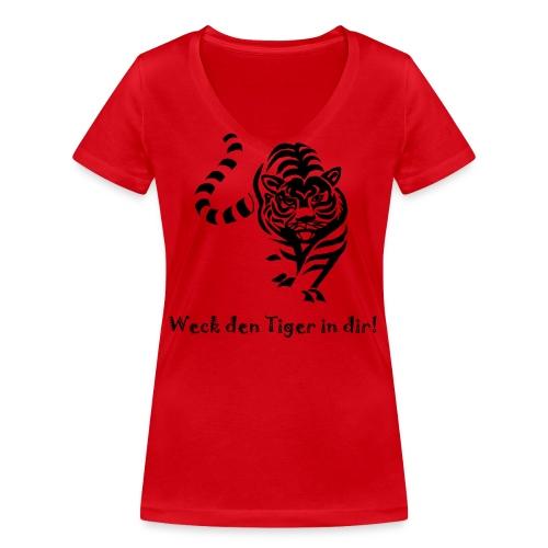 Weck den Tiger in dir! - Frauen Bio-T-Shirt mit V-Ausschnitt von Stanley & Stella