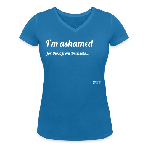 I'm ashamed for those from Brussels - Ekologiczna koszulka damska z dekoltem w serek Stanley & Stella