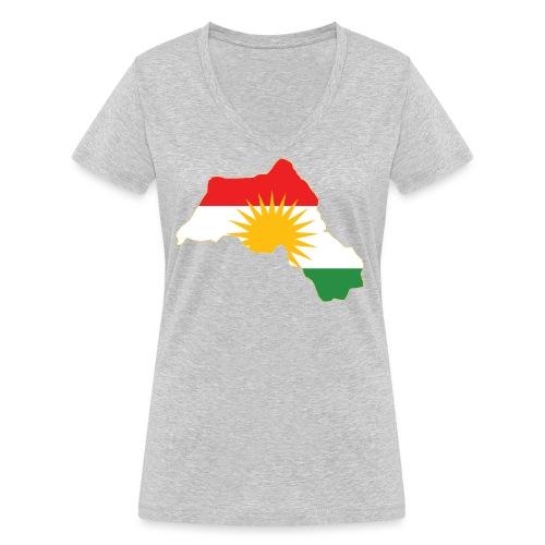 Kurdistan Flag Map - Frauen Bio-T-Shirt mit V-Ausschnitt von Stanley & Stella