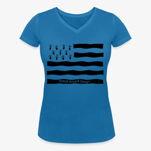 Gwenn ha Du-Noir fond transparent - T-shirt bio col V Stanley & Stella Femme