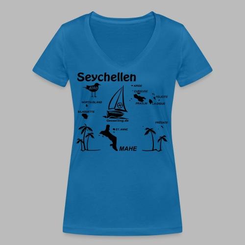 Seychellen Insel Crewshirt Mahe etc. - Frauen Bio-T-Shirt mit V-Ausschnitt von Stanley & Stella