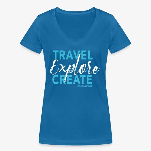 Travel explore create hellblau weiss - Frauen Bio-T-Shirt mit V-Ausschnitt von Stanley & Stella