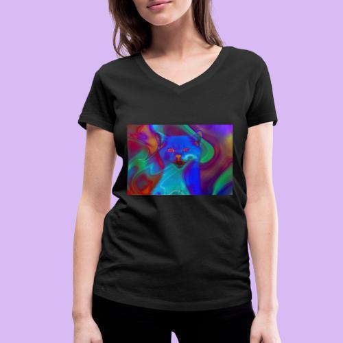 Gattino con effetti neon surreali - T-shirt ecologica da donna con scollo a V di Stanley & Stella