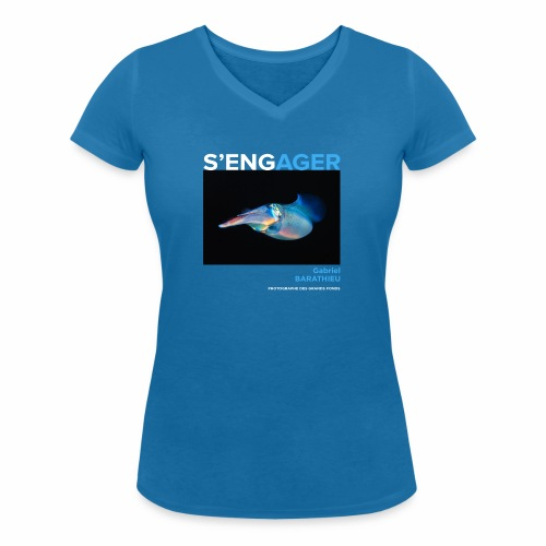 1 Achat = 1 Don à l'association Deep blue explore - T-shirt bio col V Stanley & Stella Femme