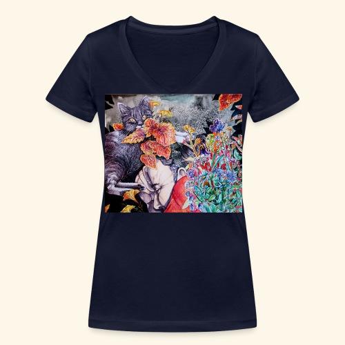 Nap and a cat - Stanley & Stellan naisten v-aukkoinen luomu-T-paita