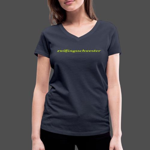 bliźniaczka - Ekologiczna koszulka damska z dekoltem w serek Stanley & Stella