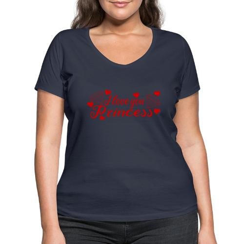 I Love you Princess mit Diamanten und Herzchen - Frauen Bio-T-Shirt mit V-Ausschnitt von Stanley & Stella