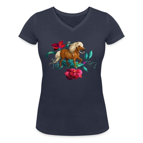 Kamelien Pony - Frauen Bio-T-Shirt mit V-Ausschnitt von Stanley & Stella
