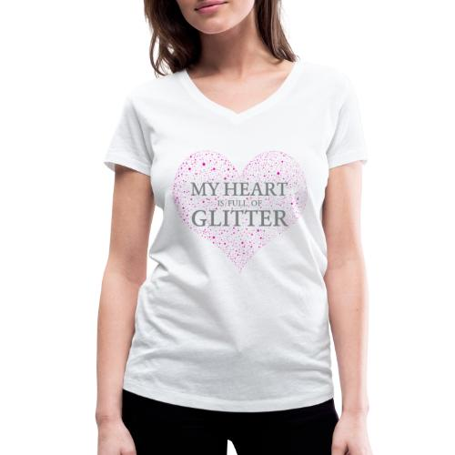 Glitzer Herz - Frauen Bio-T-Shirt mit V-Ausschnitt von Stanley & Stella