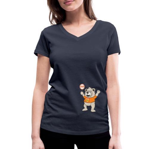 FUPO der Bär. Druckfarbe bunt - Frauen Bio-T-Shirt mit V-Ausschnitt von Stanley & Stella