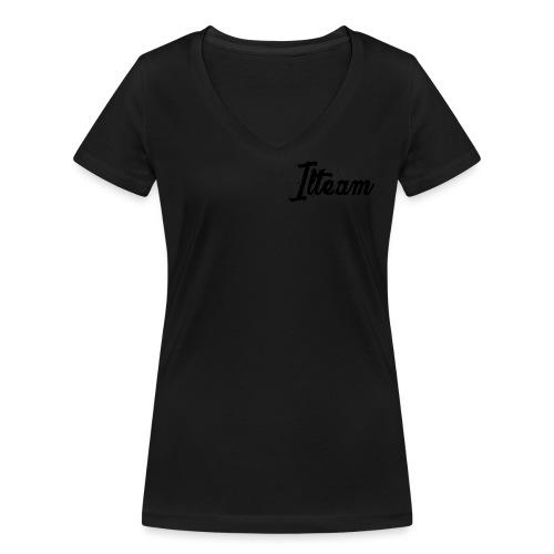 Ilteam Black and White - T-shirt bio col V Stanley & Stella Femme