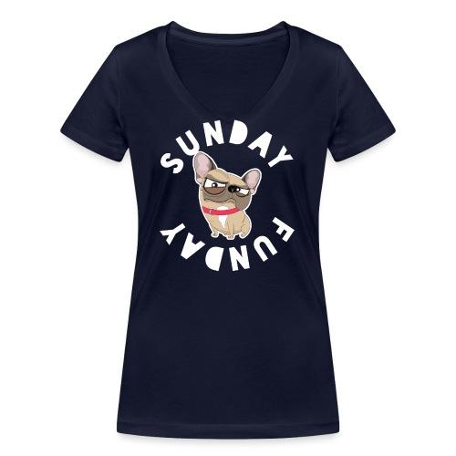 Frenchie Sunday FunDay - T-shirt bio col V Stanley & Stella Femme