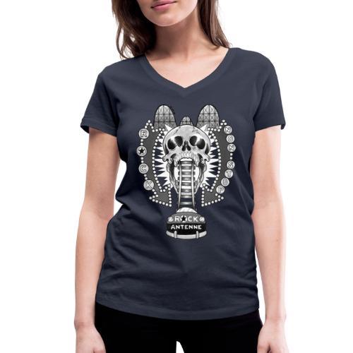 ROCK ANTENNE Rock 'n' Rollercoaster / schwarz-weiß - Frauen Bio-T-Shirt mit V-Ausschnitt von Stanley & Stella