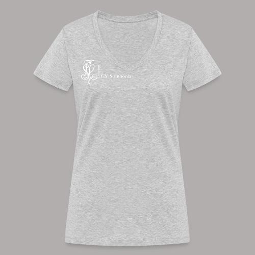 Zirkel mit Name, weiss (vorne) - Frauen Bio-T-Shirt mit V-Ausschnitt von Stanley & Stella