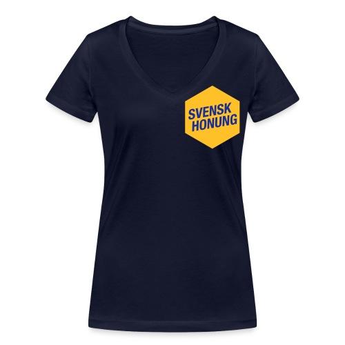 Svensk honung Hexagon Gul/Blå - Ekologisk T-shirt med V-ringning dam från Stanley & Stella