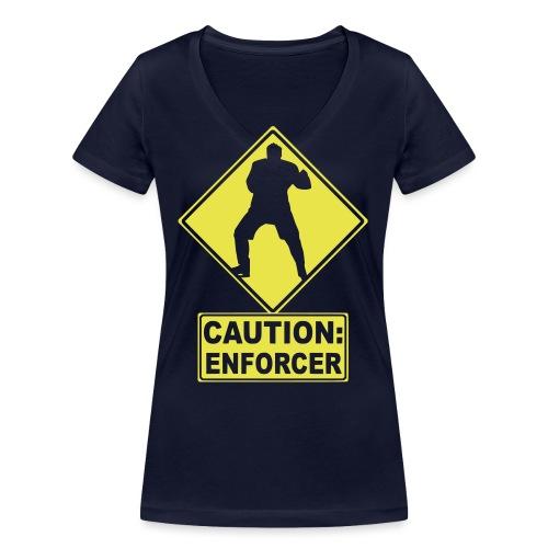 CAUTION: Hockey Enforcer - Women's Organic V-Neck T-Shirt by Stanley & Stella