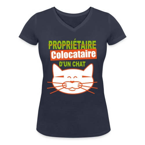 colocataire chat png - T-shirt bio col V Stanley & Stella Femme