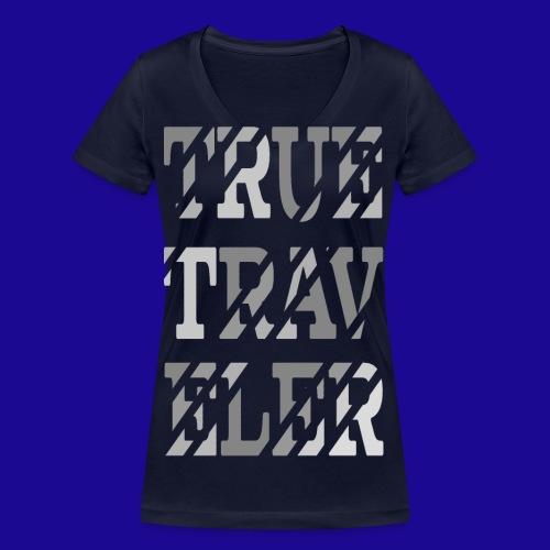 True Traveler Grey design - Stanley & Stellan naisten v-aukkoinen luomu-T-paita