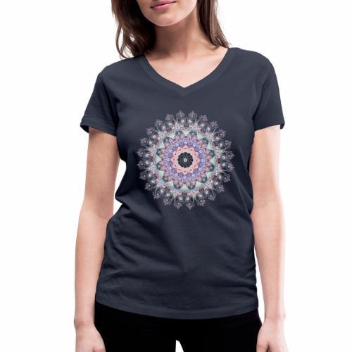 Hvid mandala - Økologisk Stanley & Stella T-shirt med V-udskæring til damer