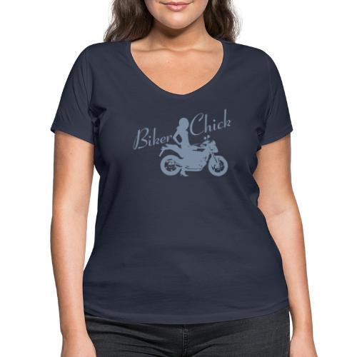 Biker Chick - Naked bike - Stanley & Stellan naisten v-aukkoinen luomu-T-paita
