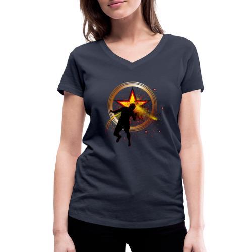 Fussball Fanshirt Deutschland - Kopfball Treffer - Frauen Bio-T-Shirt mit V-Ausschnitt von Stanley & Stella