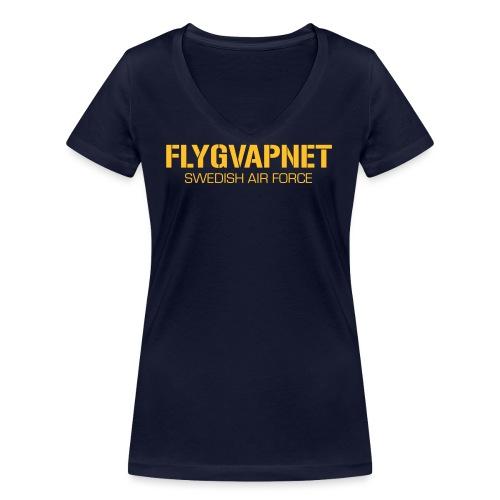 FLYGVAPNET - SWEDISH AIR FORCE - Ekologisk T-shirt med V-ringning dam från Stanley & Stella