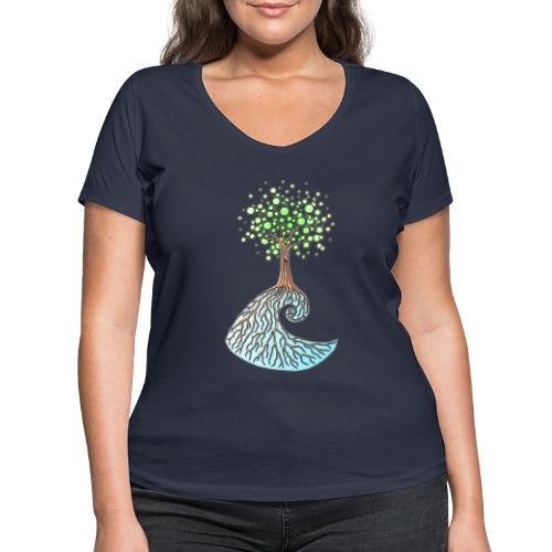 Wellenbaum - Frauen Bio-T-Shirt mit V-Ausschnitt von Stanley & Stella