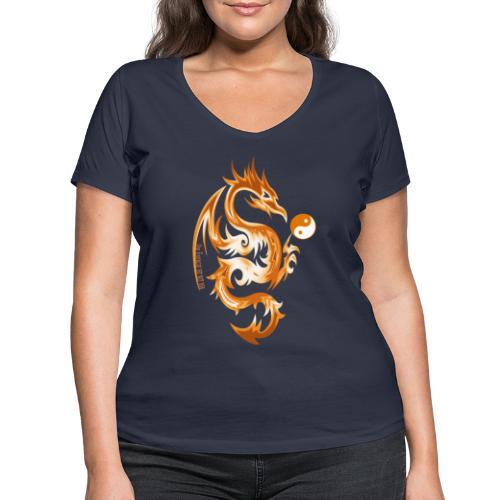 Der Drache spielt mit der Energie des Lebens. - Frauen Bio-T-Shirt mit V-Ausschnitt von Stanley & Stella