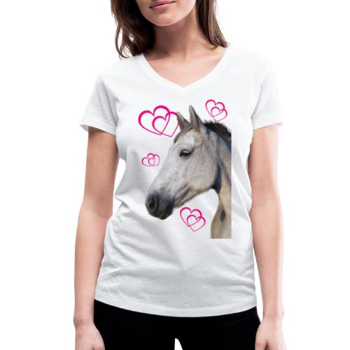 Hästälskare (maya) - Ekologisk T-shirt med V-ringning dam från Stanley & Stella