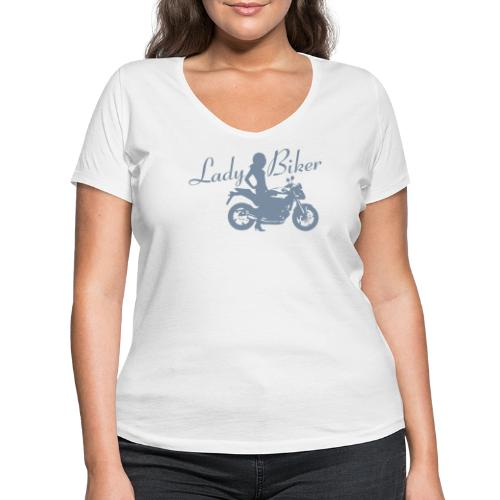 Lady Biker - Naked bike - Stanley & Stellan naisten v-aukkoinen luomu-T-paita