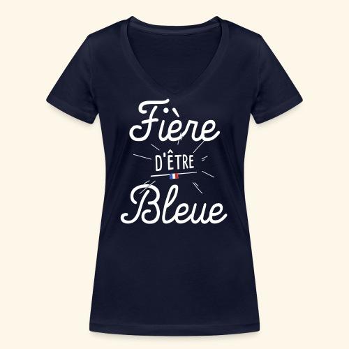 Footballeuse Coupe du monde Fière d'être bleue - T-shirt bio col V Stanley & Stella Femme