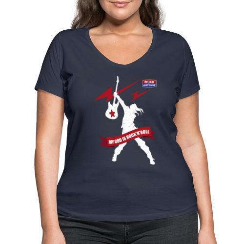 ROCK ANTENNE - My God is Rock'n'Roll Vers.2 - Frauen Bio-T-Shirt mit V-Ausschnitt von Stanley & Stella